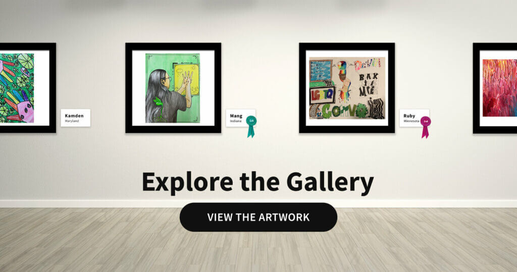 Four frames of paintings in a gallery