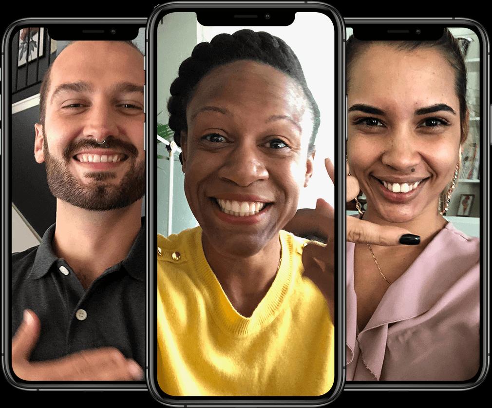 Three individuals smiling via iPhones